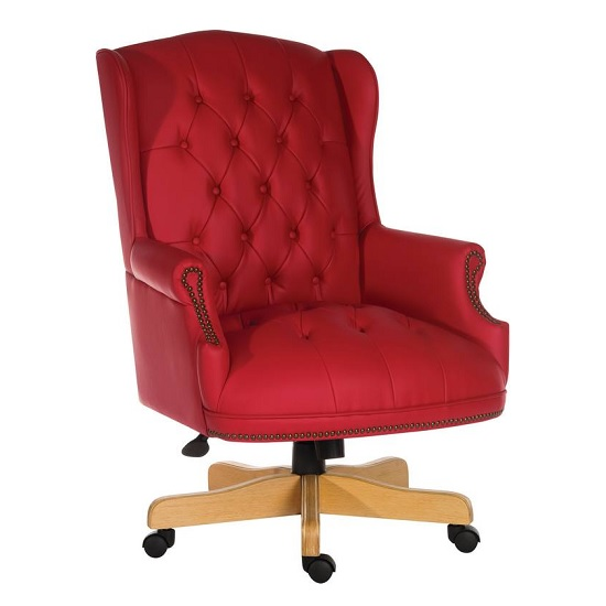 Patmos Executive Office Chair In Red Bonded Leather