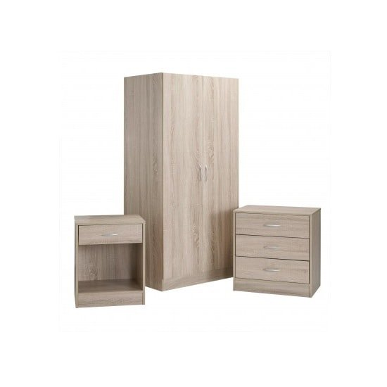 Piccalo Wooden Bedroom Furniture Set In Brown Finish