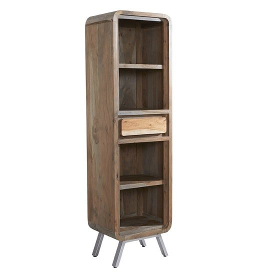 Reverso Wooden Bookcase Narrow In Reclaimed Wood And Iron