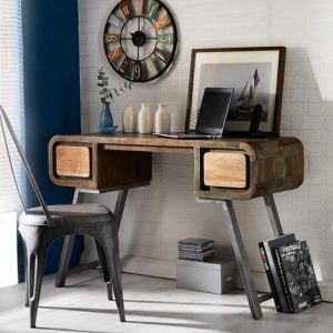 Reverso Wooden Computer Desk In Reclaimed Wood And Iron