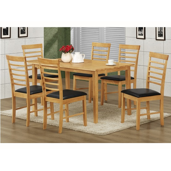 Rivero Dining Table Rectangular In Light Oak And 6 Dining Chairs