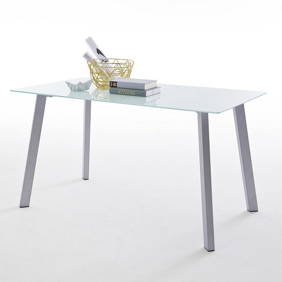 Robbie White Glass Dining Table With Chrome Legs