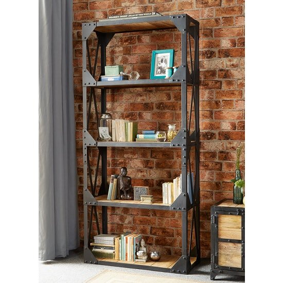 Romarin Large Bookcase In Reclaimed Wood And Metal Frame