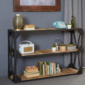Romarin Low Bookcase In Reclaimed Wood And Metal Frame
