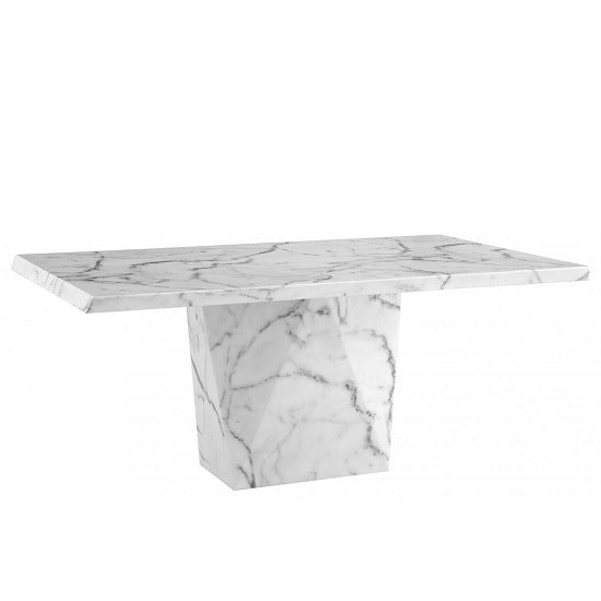 Sardinia Contemporary Marble Dining Table Rectangular In White