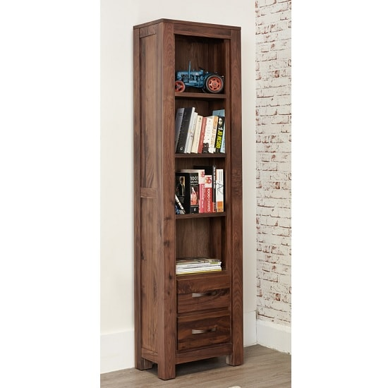 Sayan Wooden Bookcase In Walnut With 2 Drawers