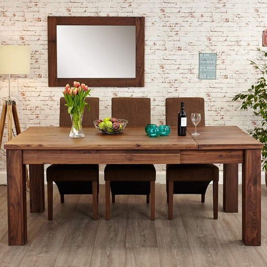Sayan Wooden Extendable Dining Table In Walnut