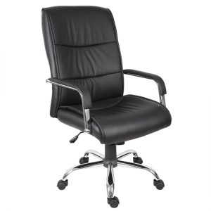 Scanon Executive Office Chair In Black PU With Castors