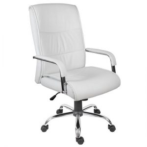Scanon Executive Office Chair In White PU With Castors