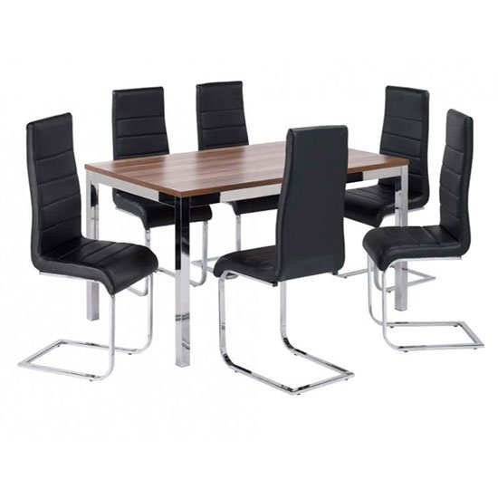 Stuman Large Walnut Rectangular Dining Table And 6 Dining Chairs