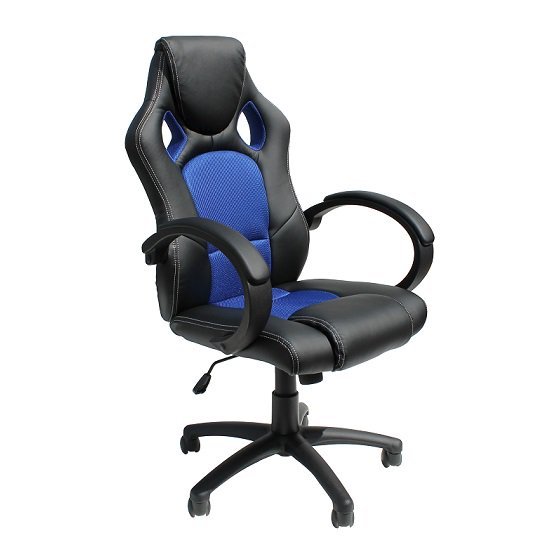 Tropez Home Office Chair In Blue Fabric And Black Faux Leather