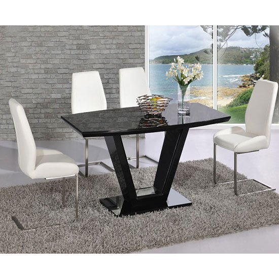 Ventura V Rectangle Shaped Black Dining Table And 6 Chairs