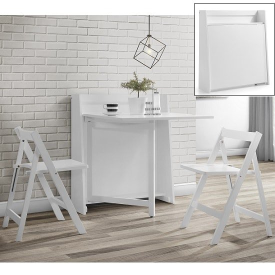 Wembley Folding Console In To A Dining Table Set In White