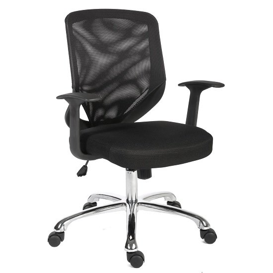 Wildon Home Office Chair in Black Fabric With Mesh Back