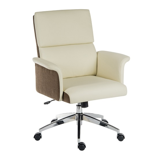 Wooster Executive Home Office Chair In Cream PU