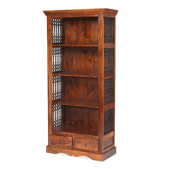 Zander Wooden Bookcase In Sheesham Hardwood With 2 Drawers