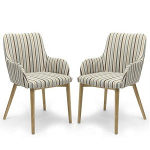 Zayno Fabric Dining Chair In Duck Egg Blue Stripe In A Pair
