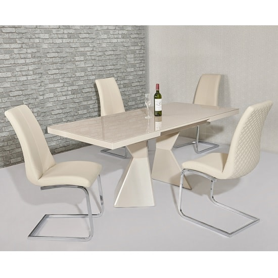 Zeta Extendable Glass Dining Set In Cream Gloss 6 Orly Chairs