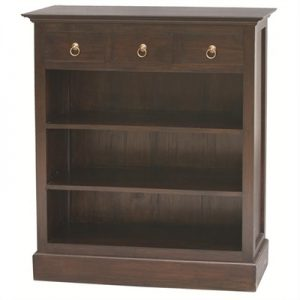 Adolf Mahogany Timber 3 Drawer Low Bookcase, Chocolate