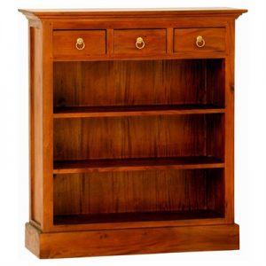 Adolf Mahogany Timber 3 Drawer Low Bookcase, Light Pecan