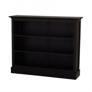 Adolf Solid Mahogany Timber Double Shelf Low Bookcase, Chocolate
