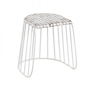 Alan Coconut Chip & Steel Table Stool