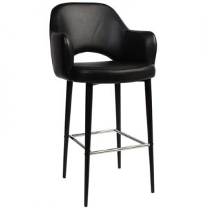 Albury Commercial Grade Vinyl Counter Stool with Arm, Metal Leg, Black