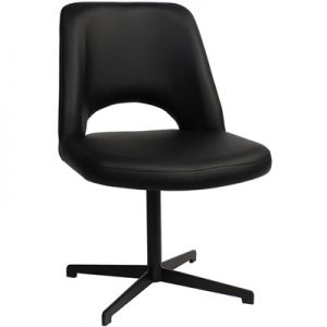 Albury Commercial Grade Vinyl Dining Chair, Metal Blade Leg, Black