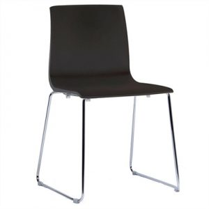 Alice Italian Made Commercial Grade Stackable Sled Leg Dining Chair - Anthracite