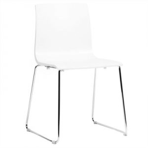 Alice Italian Made Commercial Grade Stackable Sled Leg Dining Chair - White