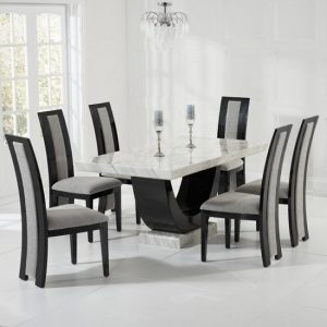 Allie Marble Dining Set In Cream And Black With 4 Grey Chairs