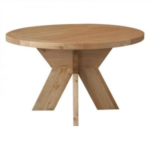 Alvilda Solid Oak Timber Round Dining Table, 130cm, Natural Oak