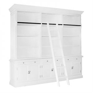 Ampuis 3-Bay Birch Timber Library Bookcase with Ladder, White