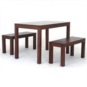 Amsterdam 3 Piece Mahogany Timber Dining Set, 120cm, Mahogany
