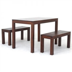 Amsterdam 3 Piece Solid Mahogany Timber 150cm Dining Set - Mahogany