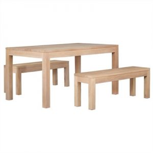 Amsterdam 3 Piece Solid Mahogany Timber Dining Set, White Wash