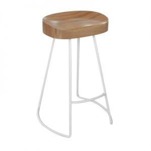 Andy Oak Timber & Metal Counter Stool, Natural / White