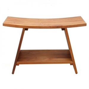 Archie Solid Teak Timber Shower Stool with Shelf