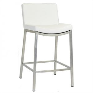 Ascot Commercial Grade Stainless Steel Counter Stool with PU Seat, White