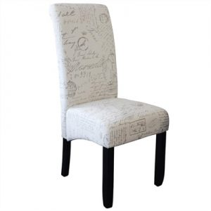 Averil Fabric Upholstered Dining Chair, Paris Script/Wenge