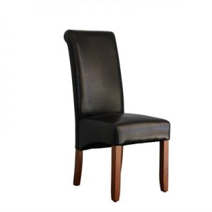 Averil PU Upholstered Dining Chair - Black/Chestnut