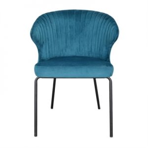 Badia Velvet Fabric Dining Chair, Turquoise