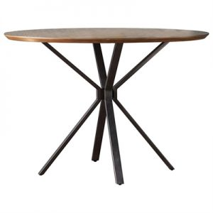 Barnes Wood & Metal Round Dining Table, 110cm