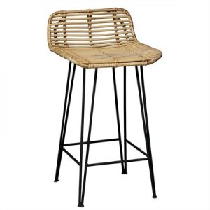 Beau Rattan and Iron Bar Stool