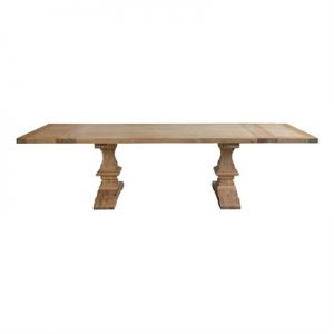 Billings Oak Timber Extendable Dining Table, 200-300cm, Weathered Oak