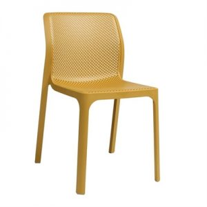 Bit Italian Made Commercial Grade Indoor/Outdoor Dining Chair, Yellow