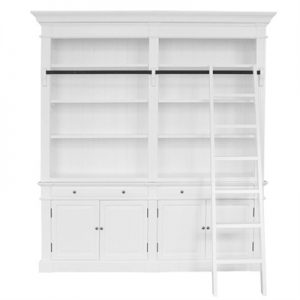 Bonn 2-Bay Birch Timber Library Bookcase with Ladder, White
