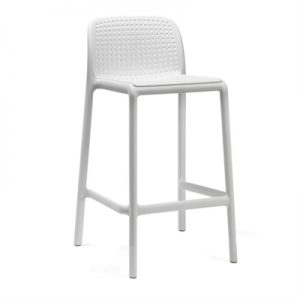 Bora Italian Made Commercial Grade Indoor/Outdoor Counter Stool, White