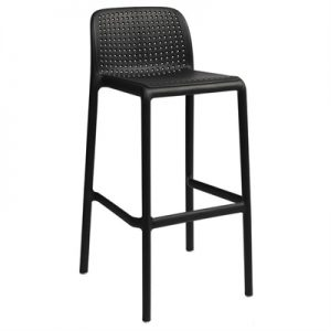Bora Italian Made Commercial Grade Stackable Indoor/Outdoor Bar Stool , Anthracite
