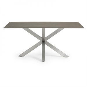 Bromley Ceramic Glass & Stainless Steel Dining Table, 180cm, Iron Moss / Silver